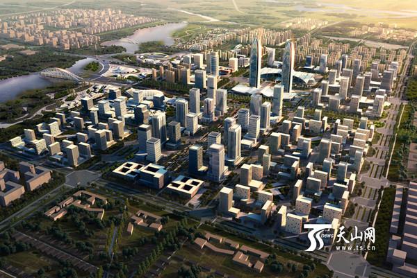 """其中58层268米高的喀什发展大厦——""""双子塔""""正在"""