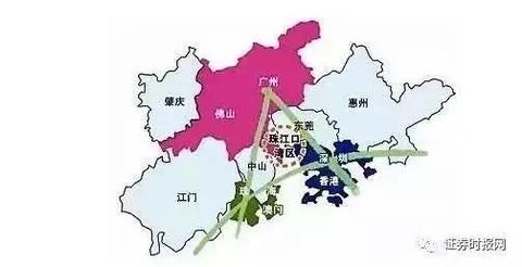 肇庆,深圳,东莞,惠州,珠海,中山,江门9市和香港,澳门两个特别行政区