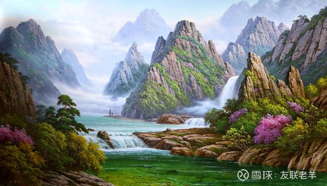 一组朝鲜油画风格的,风景作品!尺幅都在165厘米左右