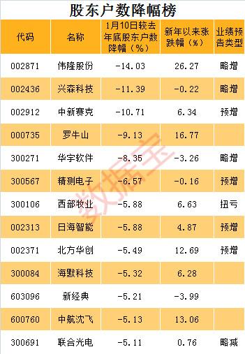 新年首期股东户数降幅榜出炉!13股降幅超5%